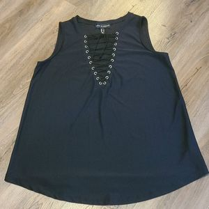 NWOT Love & Legend Black Lace-Up Sleeveless Top X